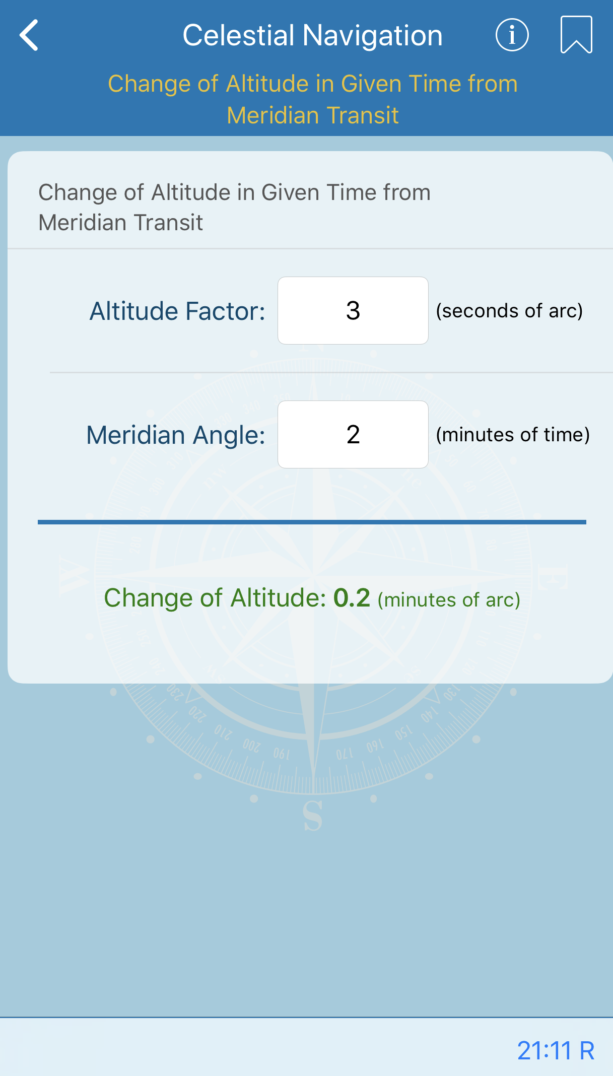 Change of Altitude in Given Time from Meridian Transit
