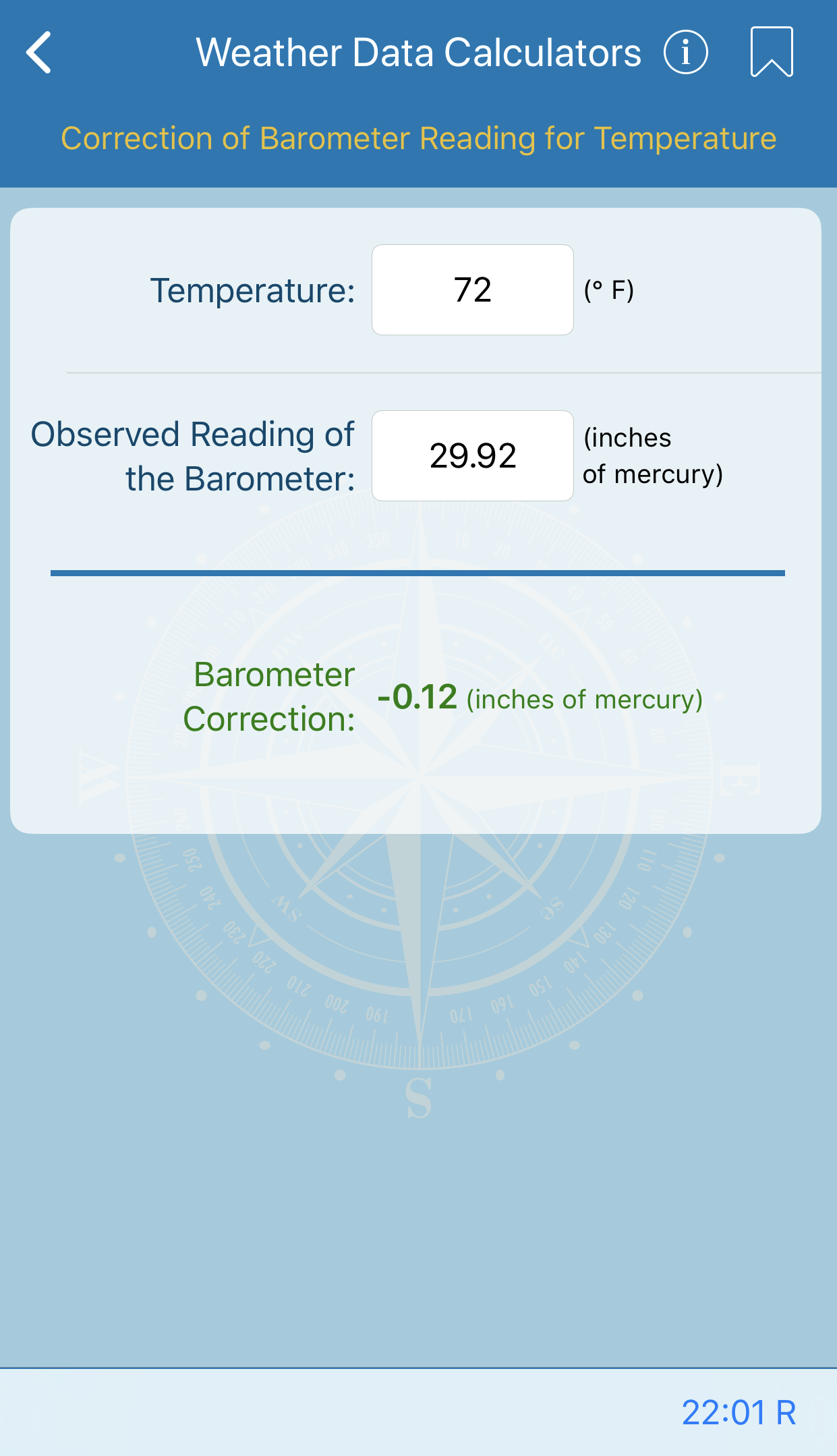 Correction of Barometer Reading for Temperature