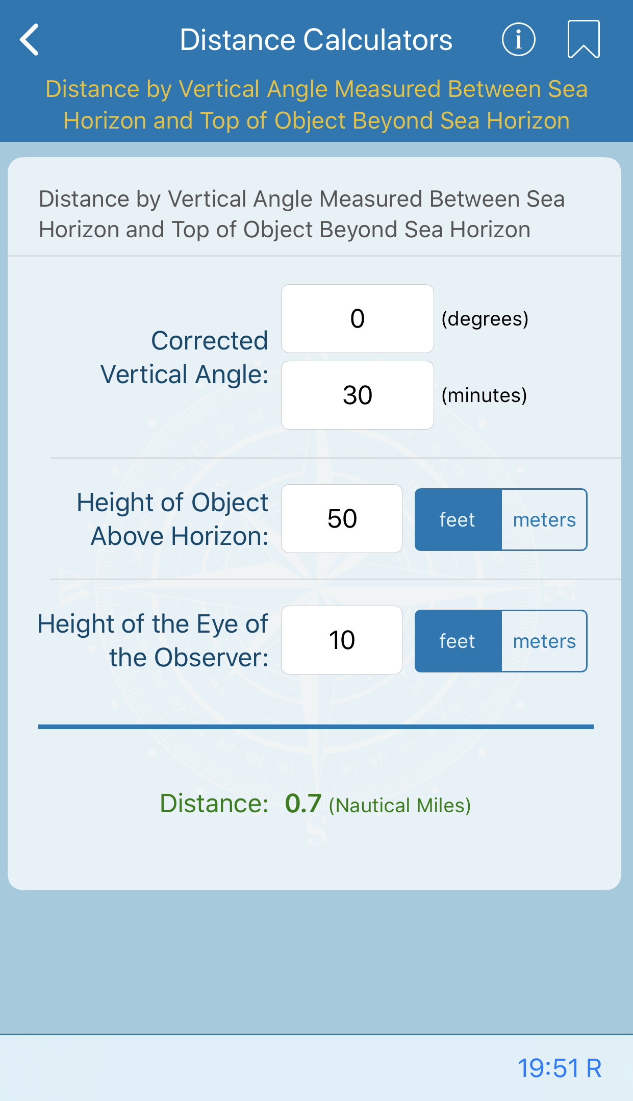 Distance by Vertical Angle Measured Between Sea Horizon and Top of Object Beyond Sea Horizon