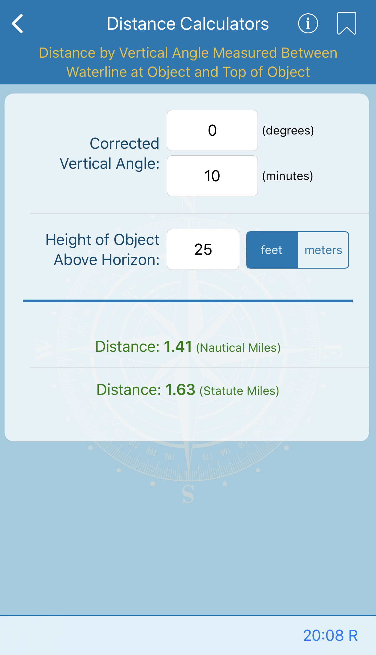 Distance by Vertical Angle Measured Between Waterline at Object and Top of Object