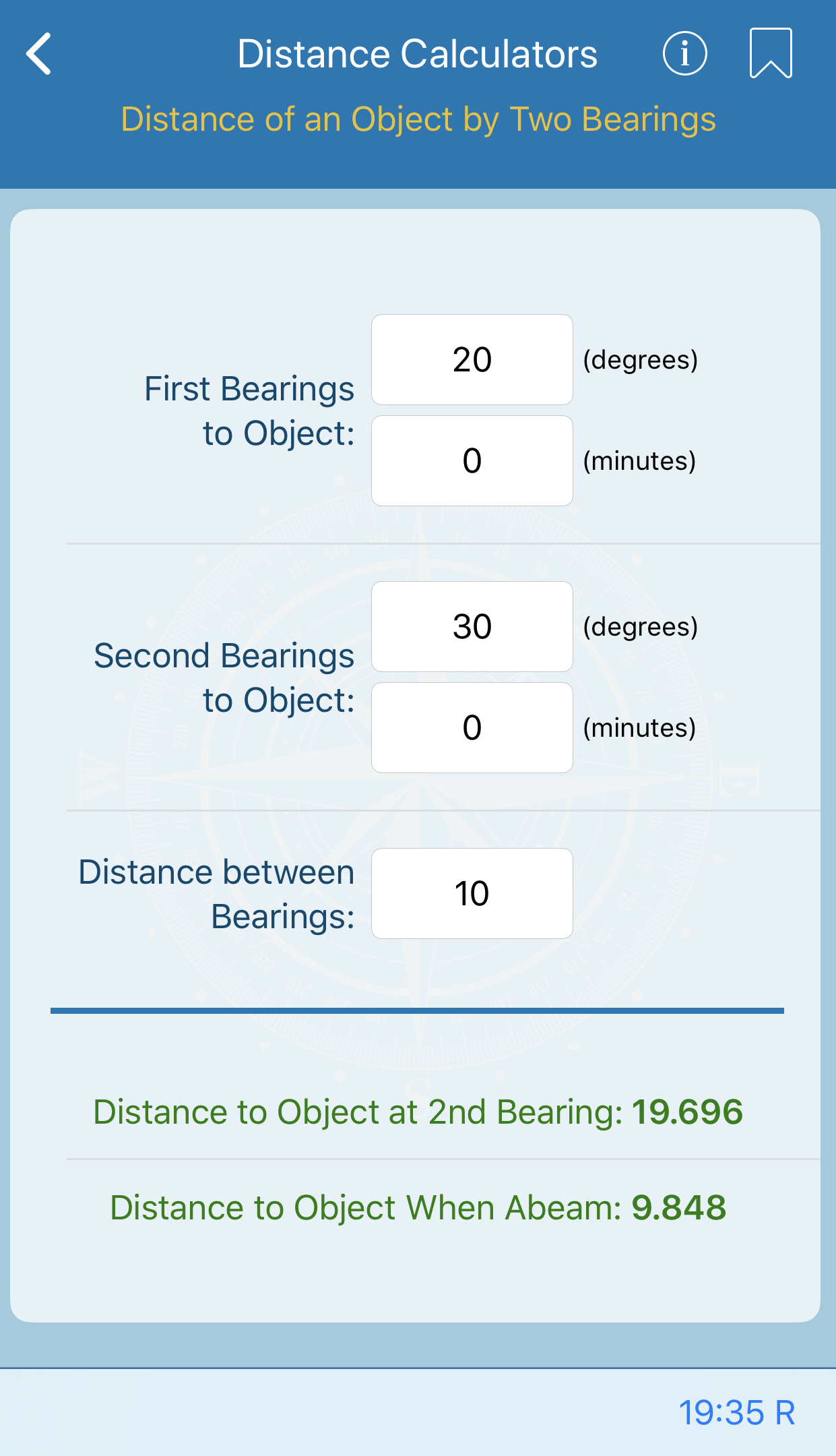 Distance of an Object by Two Bearings