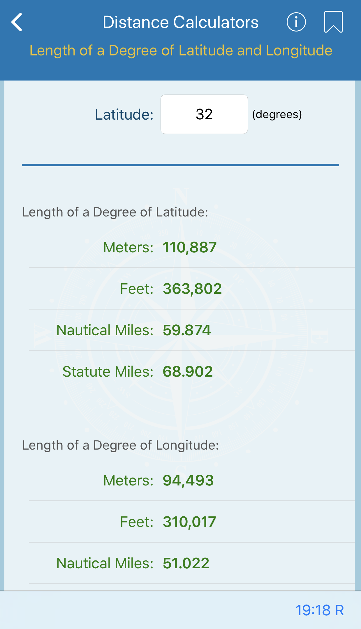 Length of a Degree of Latitude and Longitude