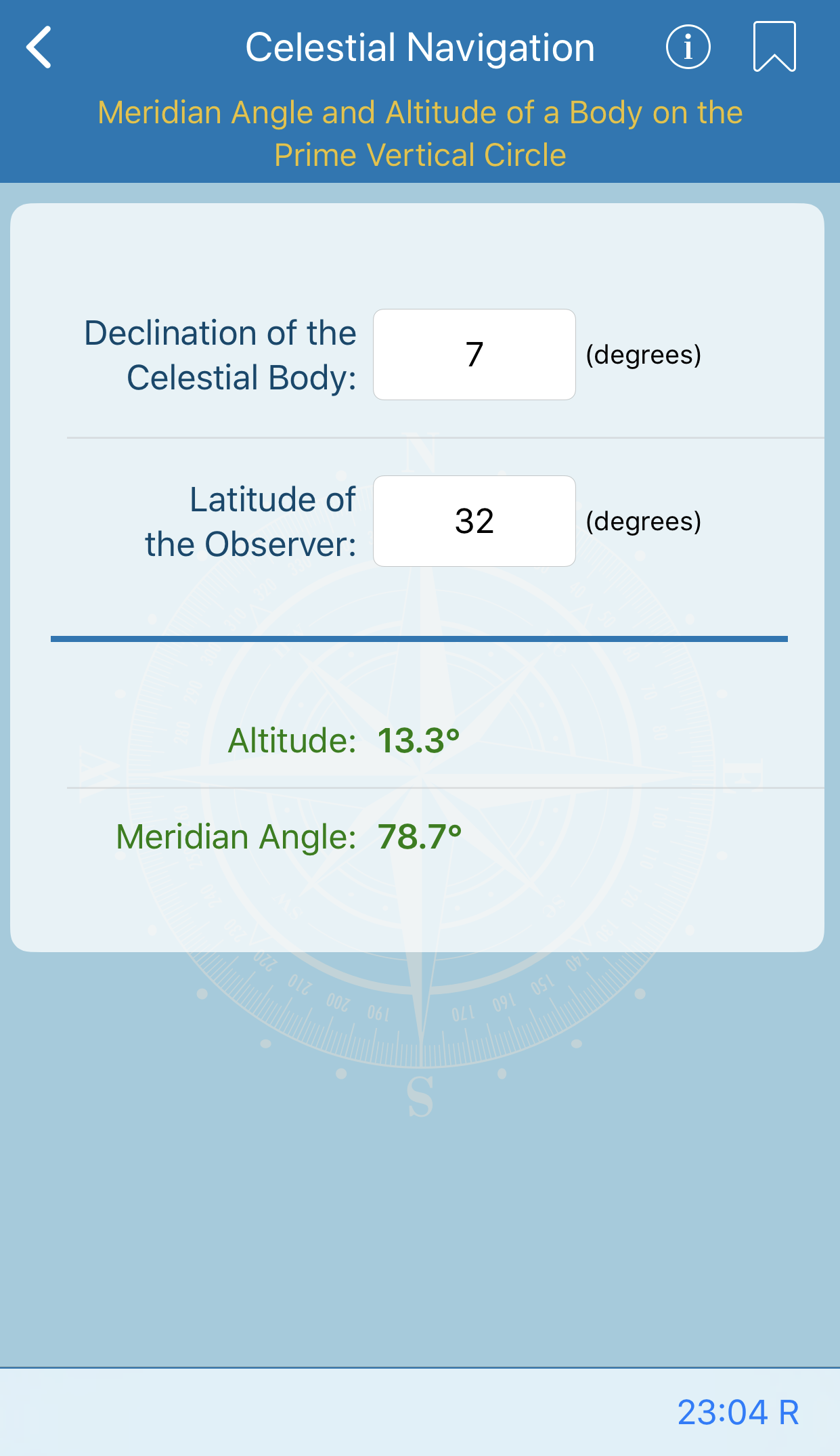 Meridian Angle and Altitude of a Body on the Prime Vertical Circle