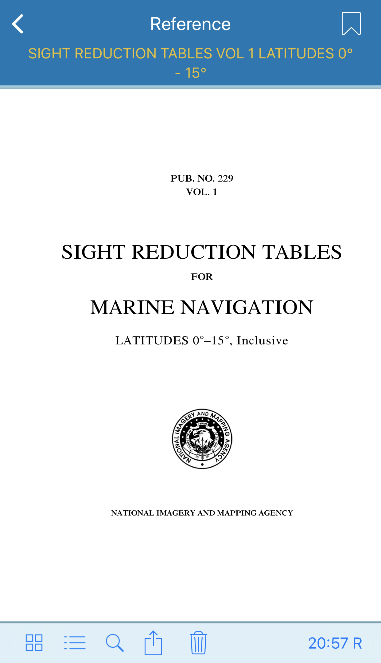 Sight Reduction Tables Reference